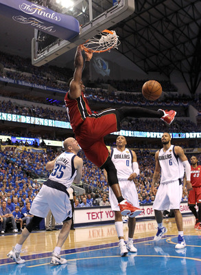 DALLAS, TX - JUNE 07:  Dwyane Wade #3 of the Miami Heat dunks against the Miami Heat in Game Four of the 2011 NBA Finals at American Airlines Center on June 7, 2011 in Dallas, Texas. NOTE TO USER: User expressly acknowledges and agrees that, by downloadin