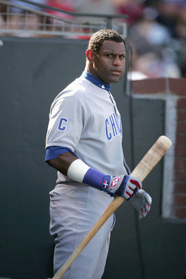 SAN FRANCISCO- AUGUST 8:  Sammy Sosa #21 of the Chicago Cubs stands with his bat during the game against the San Francisco Giants at SBC Park on August 8, 2004 in San Francisco, California. The Giants won 6-3. (Photo by Jed Jacobsohn/Getty Images)