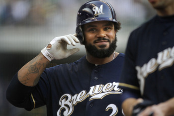 MILWAUKEE, WI - SEPTEMBER 1:  Prince Fielder #28 of the Milwaukee Brewers takes off his helmet after hitting a line drive for the final out during game action against the St Louis Cardinals at Miller Park on September 1, 2011 in Milwaukee, Wisconsin. The