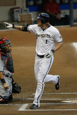 MILWAUKEE, WI - AUGUST 31: Corey Hart #1 of the Milwaukee Brewers points after hitting a home run during the game against the St. Louis Cardinals at Miller Park on August 31, 2011 in Milwaukee, Wisconsin. (Photo by Scott Boehm/Getty Images)