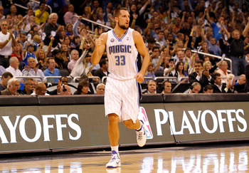 ORLANDO, FL - APRIL 26:  Ryan Anderson #33 of the Orlando Magic celebrates a three point shot against the Atlanta Hawks during Game Five of the Eastern Conference Quarterfinals of the 2011 NBA Playoffs on April 26, 2011 at the Amway Arena in Orlando, Flor