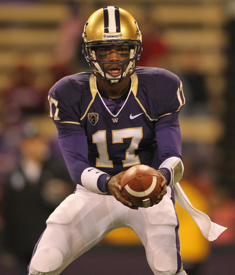SEATTLE - OCTOBER 30:  Quarterback Keith Price #17 of the Washington Huskies prepares to hand off against the Stanford Cardinal on October 30, 2010 at Husky Stadium in Seattle, Washington. Stanford won 41-0. (Photo by Otto Greule Jr/Getty Images)