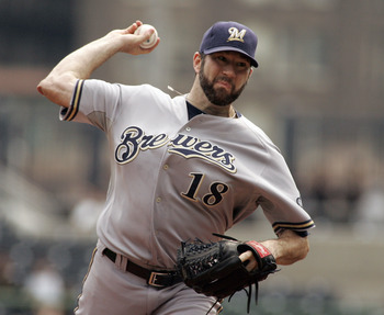 PITTSBURGH, PA - AUGUST 24:  Shaun Marcum #18 of the Milwaukee Brewers pitches against the Pittsburgh Pirates during the game on August 24, 2011 at PNC Park in Pittsburgh, Pennsylvania.  (Photo by Justin K. Aller/Getty Images)