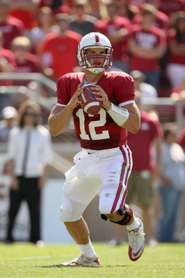 STANFORD, CA - SEPTEMBER 03:  Andrew Luck #12 of the Stanford Cardinal looks to pass the ball during their game against the San Jose State Spartans at Stanford Stadium on September 3, 2011 in Stanford, California.  (Photo by Ezra Shaw/Getty Images)