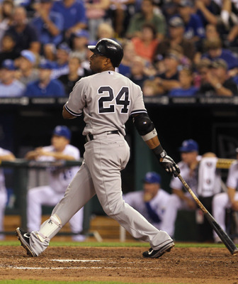 KANSAS CITY, MO - AUGUST 16:  Robinson Cano #24 the New York Yankees hits a 3-run home run during the 4th inning of the game against the Kansas City Royals at Kauffman Stadium on August 16, 2011 in Kansas City, Missouri.  (Photo by Jamie Squire/Getty Imag