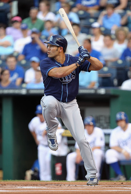 KANSAS CITY, MO - JULY 22:  Johnny Damon #22 of the Tampa Bay Rays bats during the 1st inning of the game against the Kansas City Royals on July 22, 2011 at Kauffman Stadium in Kansas City, Missouri.  (Photo by Jamie Squire/Getty Images)