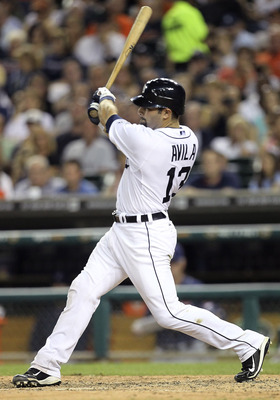 DETROIT - AUGUST 19:  Alex Avila #13 of the Detroit Tigers hits a solo home run in the seventh inning off Josh Tomlin #43 of the Ceveland Indians during the game at Comerica Park on August 19, 2011 in Detroit, Michigan.  (Photo by Leon Halip/Getty Images)