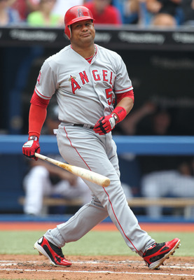 TORONTO, CANADA - AUGUST 14:  Bobby Abreu #53 of the Los Angeles Angels of Anaheim strikes out in a MLB game against the Toronto Blue Jays on August 14, 2011 at the Rogers Centre in Toronto, Canada. (Photo by Claus Andersen/Getty Images)