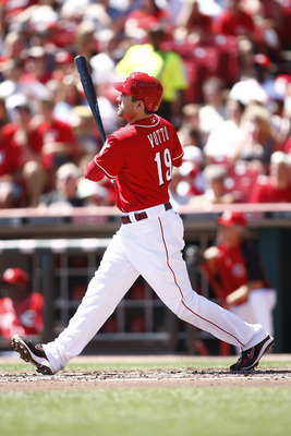 CINCINNATI, OH - AUGUST 28:  Joey Votto #19 of the Cincinnati Reds connects for a solo homerun during the game against the Washington Nationals on August 28, 2011 at Great American Ball Park in Cincinnati, Ohio.   (Photo by John Grieshop/Getty Images)