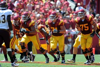 USC Trojans Offensive Line (Photo courtesy of USCTrojans.com by John SooHoo)