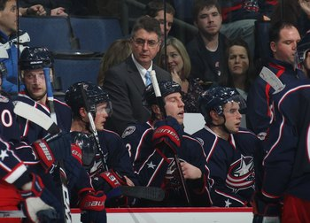 COLUMBUS, OH - DECEMBER 14: Assistant coach Claude Noel of the Columbus Blue Jackets tends to bench duties in his game against the Nashville Predators at the Nationwide Arena on December 14, 2009 in Columbus, Ohio. (Photo by Bruce Bennett/Getty Images)