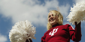 ANN ARBOR, MI - SEPTEMBER 27:  An Indiana University at Bloomington Hoosiers cheerleader performs during the game against the University of Michigan Wolverines, at Michigan Stadium on September 27, 2003 in Ann Arbor, Michigan. Michigan defeated Indiana 31