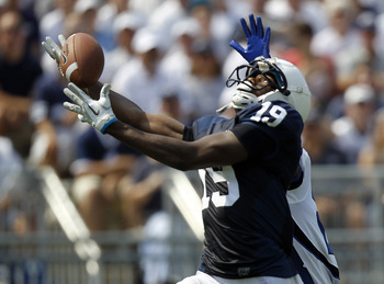 STATE COLLEGE, PA - SEPTEMBER 3:  Justin Brown #19 of the Penn State Nittany Lions can't make the catch against the Indiana State Sycamores during the game on September 3, 2011 at Beaver Stadium in State College, Pennsylvania.  (Photo by Justin K. Aller/G