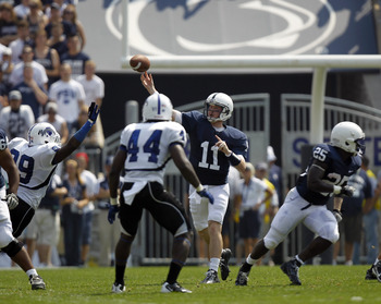 STATE COLLEGE, PA - SEPTEMBER 3:  Matthew McGloin #11 of the Penn State Nittany Lions drops back to pass against the Indiana State Sycamores during the game on September 3, 2011 at Beaver Stadium in State College, Pennsylvania.  (Photo by Justin K. Aller/