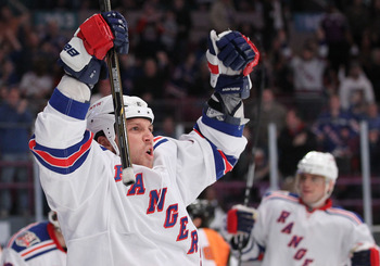 NEW YORK - MARCH 06:  Sean Avery #16 of the New York Rangers celebrates a goal that was called back against the Philadelphia Flyers during their game on March 6, 2011 at Madison Square Garden in New York City, New York.  (Photo by Al Bello/Getty Images)