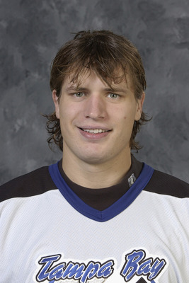 TAMPA BAY, FL - SEPTEMBER 15:  Alexander Svitov of the Tampa Bay Lightning poses for a portrait on September 15, 2003 at the St. Pete Times Forum in Tampa Bay, Florida.  (Photo by: Getty Images)
