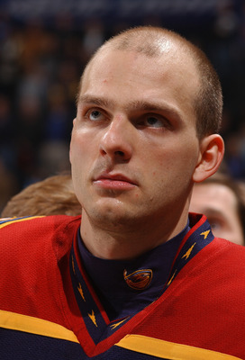 ATLANTA - JANUARY 31:  Patrik Stefan #27 of the Atlanta Thrashers looks on against the Buffalo Sabres at Philips Arena on January 31, 2006 in Atlanta, Georgia.  The Sabres won 5-2.  (Photo by Scott Cunningham/Getty Images)