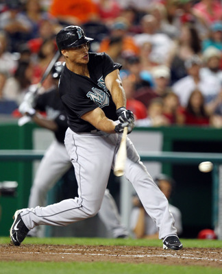 WASHINGTON, DC - JULY 27: Mike Stanton #27 of the Florida Marlins swings at a pitch against the Washington Nationals at Nationals Park on July 27, 2011 in Washington, DC. (Photo by Ned Dishman/Getty Images)