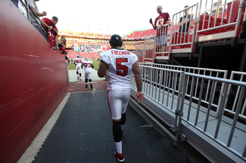 LANDOVER, MD - SEPTEMBER 01: Quarteback Josh Freeman #5 of the Tampa Bay Buccaneers walks to the field before the start of a preseason game against the Washington Redskins at FedExField on September 1, 2011 in Landover, Maryland.  (Photo by Rob Carr/Getty