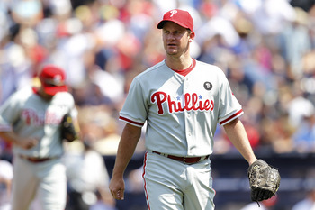 ATLANTA, GA - APRIL 9: Roy Oswalt #44 of the Philadelphia Phillies looks on against the Atlanta Braves at Turner Field on April 9, 2011 in Atlanta, Georgia. The Phillies won 10-2. (Photo by Joe Robbins/Getty Images)