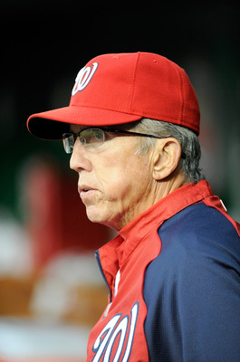 WASHINGTON, DC - AUGUST 25:  Manager Davey Johnson #5 of the Washington Nationals watches the game against the Arizona Diamondbacks at Nationals Park on August 25, 2011 in Washington, DC.  (Photo by Greg Fiume/Getty Images)