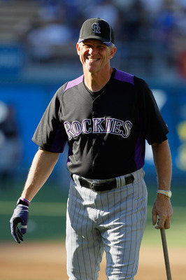 LOS ANGELES, CA - JULY 26:  Colorado Rockies manager Jim Tracy takes part in batting practice prior to the start of the game against the Los Angeles Dodgers at Dodger Stadium on July 26, 2011 in Los Angeles, California.  (Photo by Jeff Gross/Getty Images)