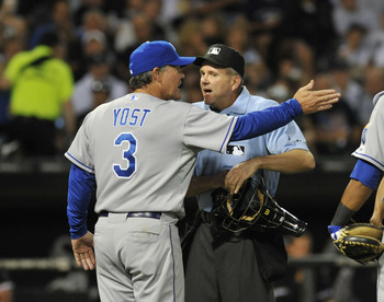 CHICAGO, IL - AUGUST 12:  Ned Yost #3 manager of the Kansas City Royals argues a call with home plate umpire Mike Everitt during a game against the Chicago White Sox on August 12, 2011 at U.S. Cellular Field in Chicago, Illinois.  (Photo by David Banks/Ge