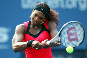 NEW YORK, NY - SEPTEMBER 03:  Serena Williams of the United States returns a shot against Victoria Azarenka of Belarus during Day Six of the 2011 US Open at the USTA Billie Jean King National Tennis Center on September 3, 2011 in the Flushing neighborhood