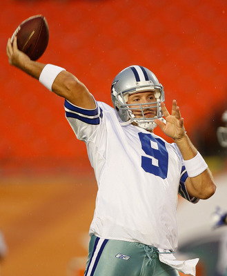 MIAMI GARDENS, FL - SEPTEMBER 01:  Tony Romo #9 of the Dallas Cowboys warms up during a Pre-Season NFL game against the Miami Dolphins at Sun Life Stadium on September 1, 2011 in Miami Gardens, Florida.  (Photo by Mike Ehrmann/Getty Images)