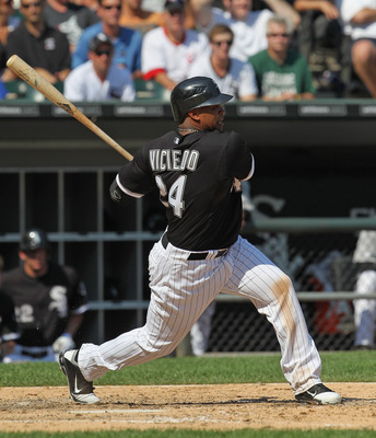 CHICAGO, IL - AUGUST 31:  Dayan Viciedo #24 of the Chicago White Sox takes a swing against the Minnesota Twins at U.S. Cellular Field on August 31, 2011 in Chicago, Illinois. The Twins defeated the White Sox 7-6.  (Photo by Jonathan Daniel/Getty Images)