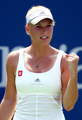 NEW YORK, NY - SEPTEMBER 03:  Caroline Wozniacki of Denmark reacts against Vania King of the United States during Day Six of the 2011 US Open at the USTA Billie Jean King National Tennis Center on September 3, 2011 in the Flushing neighborhood of the Quee