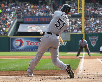 DETROIT, MI - SEPTEMBER 03:  Alex Rios #51 of the Chicago White Sox swings and makes contact during a MLB game against the Detroit Tigers at Comerica Park on September 3, 2011 in Detroit, Michigan.  (Photo by Dave Reginek/Getty Images)
