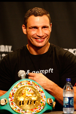 LOS ANGELES, CA - SEPTEMBER 26:  Vitali Klitschko speaks during a press conference after the fight against Chris Arreola at the Staple Center on September 26, 2009 in Los Angeles, California.  (Photo by Jacob de Golish/Getty Images)