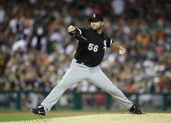 DETROIT - SEPTEMBER 04: Mark Buehrle #56 of the Chicago White Sox pitches in the first inning during the game against the Detroit Tigers at Comerica Park on September 4, 2011 in Detroit, Michigan.  (Photo by Leon Halip/Getty Images)
