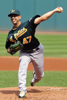 CLEVELAND, OH - SEPTEMBER 1: Starting pitcher Gio Gonzalez #47 of the Oakland Athletics pitches during the first inning against the Cleveland Indians at Progressive Field on September 1, 2011 in Cleveland, Ohio. (Photo by Jason Miller/Getty Images)