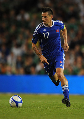 DUBLIN, IRELAND - SEPTEMBER 02:  Marek Hamsik of Slovakia during the UEFA EURO 2012 group B Qualifier match between Republic of Ireland and Slovakia at the AVIVA Stadium on September 2, 2011 in Dublin, Ireland.  (Photo by Christopher Lee/Getty Images)