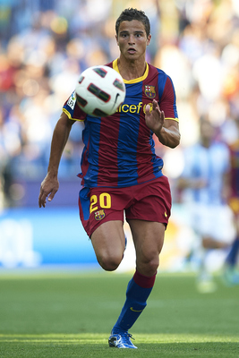MALAGA, VALENCIA - MAY 21:  Ibrahim Afellay of Barcelona in action during the La Liga match between Malaga and Barcelona at La Rosaleda Stadium on May 21, 2011 in Malaga, Spain. Barcelona won 3-1.  (Photo by Manuel Queimadelos Alonso/Getty Images)