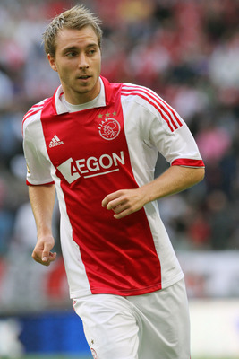 AMSTERDAM, NETHERLANDS - AUGUST 14:  Christian Eriksen of Ajax Amsterdam in action during the Eredivisie League match between Ajax Amsterdam and SC Heerenveen held on August 14, 2011 at the Amsterdam ArenA, in Amsterdam, Netherlands. (Photo by Anoek De Gr