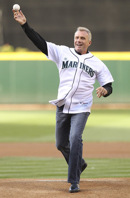 SEATTLE - JULY 02:  Former San Francisco 49ers quarterback and member of the Hall of Fame Joe Montana throws out the ceremonial first pitch prior to the game between the Seattle Mariners and the San Diego Padres at Safeco Field on July 2, 2011 in Seattle,