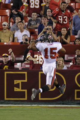 LANDOVER, MD - SEPTEMBER 01: Wide receiver  Ed Gant #15 of the Tampa Bay Buccaneers celebrates after catching a touchdown pass against the Washington Redskins during the second  half of a preseason game at FedExField on September 1, 2011 in Landover, Mary