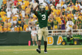 WACO, TX - SEPTEMBER 3:  Cornerback C.J. Wilson #3 of the Baylor Bears celebrates a play during the game against the TCU Horned Frogs on September 3, 2006 at Floyd Casey Stadium in Waco, Texas. TCU defeated Baylor 17-7.  (Photo by Ronald Martinez/Getty Im