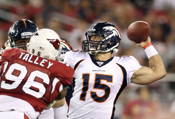 GLENDALE, AZ - SEPTEMBER 01:  Quarterback Tim Tebow #15 of the Denver Broncos throws a pass during the preseason NFL game against the Arizona Cardinals at the University of Phoenix Stadium on September 1, 2011 in Glendale, Arizona.  The Cardinals defeated