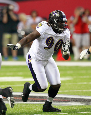 ATLANTA, GA - SEPTEMBER 01:  Pernell McPhee #90 of the Baltimore Ravens rushes the Atlanta Falcons at Georgia Dome on September 1, 2011 in Atlanta, Georgia.  (Photo by Kevin C. Cox/Getty Images)