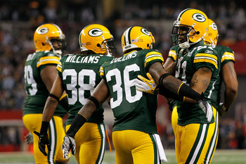 Tramon Williams, Nick Collins, and Charles Woodson combined for 12 interceptions and 45 passes defended in 2010.