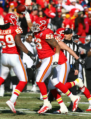 KANSAS CITY, MO - JANUARY 02:  Linebacker Derrick Johnson #56 of the Kansas City Chiefs celebrates after recovering a fumble in a game against the Oakland Raiders at Arrowhead Stadium on January 2, 2011 in Kansas City, Missouri.  (Photo by Tim Umphrey/Get