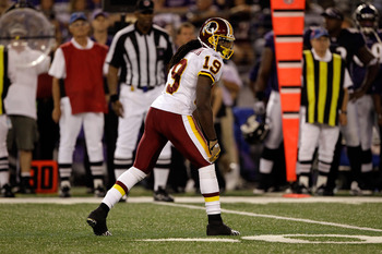 BALTIMORE, MD - AUGUST 25:  Donte' Stallworth #19 of the Washington Redskins lines up against the Baltimore Ravens defense during the second half of a preseason game at M&T Bank Stadium on August 25, 2011 in Baltimore, Maryland. The Ravens defeated the Re