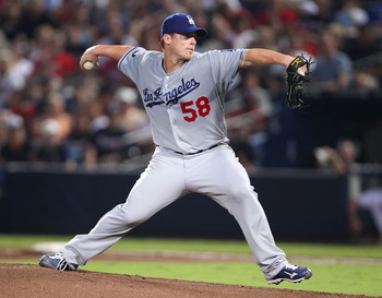 ATLANTA, GA - SEPTEMBER 02:  Pitcher Chad Billingsley of the Los Angeles Dodgers throws a pitch during the game against the Atlanta Braves at Turner Field on September 2, 2011 in Atlanta, Georgia.  (Photo by Mike Zarrilli/Getty Images)