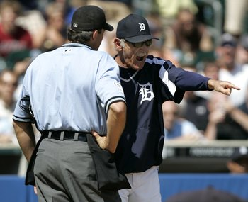 DETROIT - JUNE 4:  Manager Jim Leyland of the Detroit Tigers argues with home plate umpire Paul Nauert after being ejected in eighth inning while playing the Boston Red Sox June 4, 2006 at Comerica Park in Detroit, Michigan. Boston won the game, 8-3.  (Ph