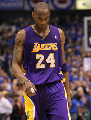DALLAS, TX - MAY 06:  Guard Kobe Bryant #24 of the Los Angeles Lakers reacts during a 98-92 loss against the Dallas Mavericks in Game Three of the Western Conference Semifinals during the 2011 NBA Playoffs on May 6, 2011 at American Airlines Center in Dal