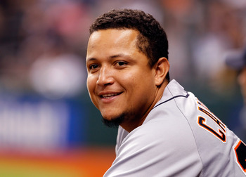 ST. PETERSBURG, FL - AUGUST 22:  Designated hitter Miguel Cabrera #24 of the Detroit Tigers smiles against the Tampa Bay Rays during the game at Tropicana Field on August 22, 2011 in St. Petersburg, Florida.  (Photo by J. Meric/Getty Images)